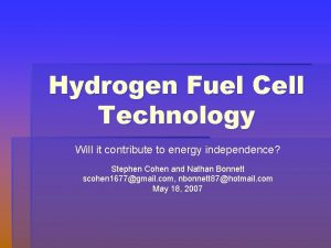 Hydrogen Fuel Cell Technology Will it contribute to