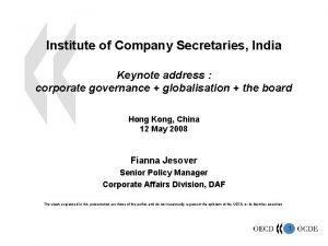 Institute of Company Secretaries India Keynote address corporate