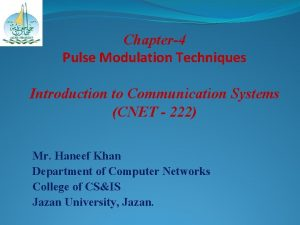 Chapter4 Pulse Modulation Techniques Introduction to Communication Systems