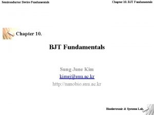 Chapter 10 BJT Fundamentals Semiconductor Device Fundamentals Chapter