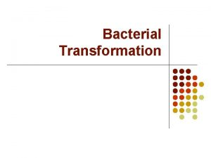 Bacterial Transformation What is transformation l Changing the
