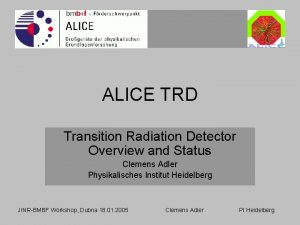 ALICE TRD Transition Radiation Detector Overview and Status