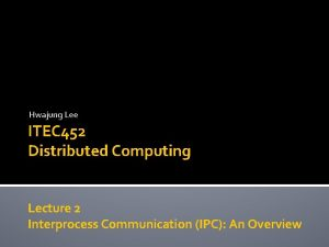 Hwajung Lee ITEC 452 Distributed Computing Lecture 2