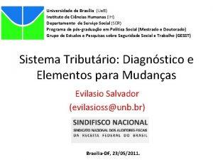Universidade de Braslia Un B Instituto de Cincias