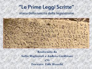 Le Prime Leggi Scritte storia della nascita della