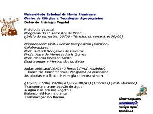 Universidade Estadual do Norte Fluminense Centro de Cincias