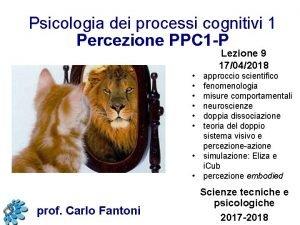 Psicologia dei processi cognitivi 1 Percezione PPC 1