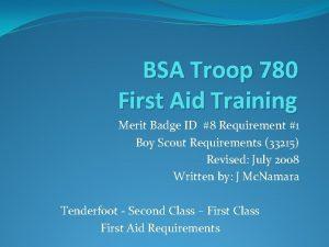 BSA Troop 780 First Aid Training Merit Badge