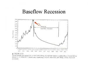 Baseflow Recession Q 0 Baseflow recession Q Q
