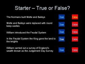 Starter True or False The Normans built Motte