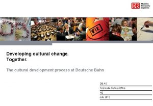 Developing cultural change Together The cultural development process