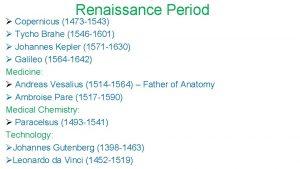 Renaissance Period Copernicus 1473 1543 Tycho Brahe 1546