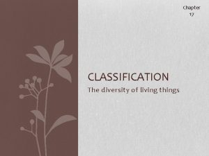 Chapter 17 CLASSIFICATION The diversity of living things