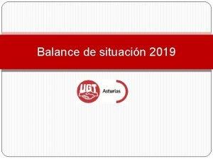 Balance de situacin 2019 Balance de situacin UGT
