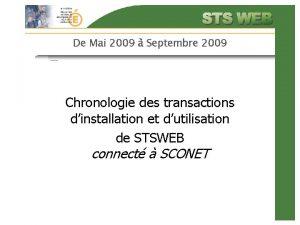 De Mai 2009 Septembre 2009 Chronologie des transactions