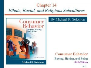 Chapter 14 Ethnic Racial and Religious Subcultures By