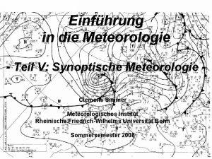 Einfhrung in die Meteorologie Teil V Synoptische Meteorologie