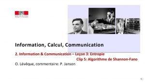 Information Calcul Communication 2 Information Communication Leon 3