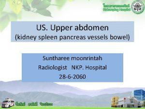 US Upper abdomen kidney spleen pancreas vessels bowel