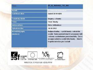 slo VY32 INOVACE TEC496 Ronk 2 Cukrsk technologie