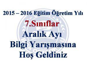 2015 2016 Eitim retim Yl 7 Snflar Aralk