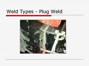 Weld Types Plug Weld Plug Weld o Plug