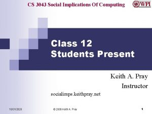 CS 3043 Social Implications Of Computing Class 12