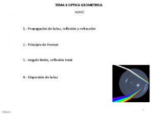 TEMA 6 OPTICA GEOMETRICA INDICE 1 Propagacin de