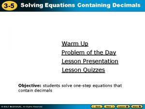 3 5 Solving Equations Containing Decimals Warm Up