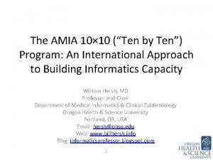 The AMIA 10 10 Ten by Ten Program
