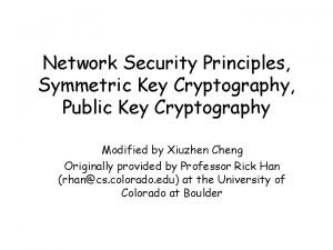 Network Security Principles Symmetric Key Cryptography Public Key
