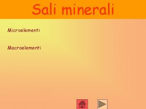 Sali minerali Microelementi Macroelementi Sali minerali Microelementi Presenti