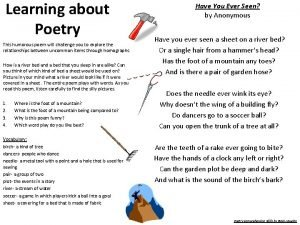 Learning about Poetry This humorous poem will challenge