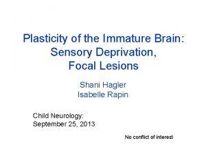 Plasticity of the Immature Brain Sensory Deprivation Focal
