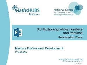 3 6 Multiplying whole numbers and fractions Representations