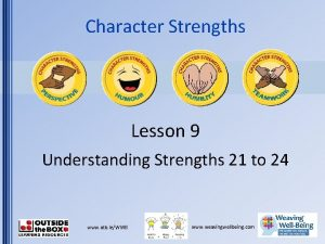 Character Strengths Lesson 9 Understanding Strengths 21 to