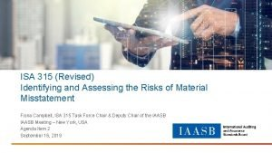 ISA 315 Revised Identifying and Assessing the Risks