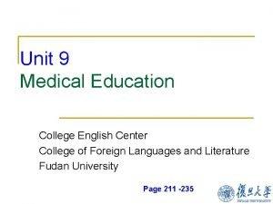 Unit 9 Medical Education College English Center College