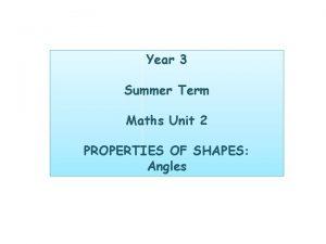 Year 3 Summer Term Maths Unit 2 PROPERTIES