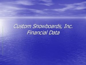 Custom Snowboards Inc Financial Data Company requirement Custom