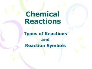 Chemical Reactions Types of Reactions and Reaction Symbols