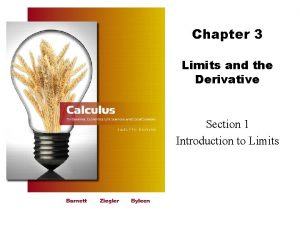 Chapter 3 Limits and the Derivative Section 1