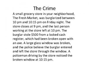 The Crime A small grocery store in your