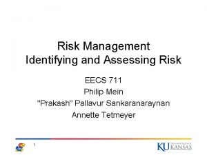 Risk Management Identifying and Assessing Risk EECS 711