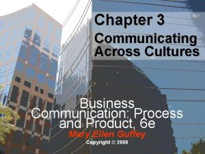 Chapter 3 Communicating Across Cultures Business Communication Process