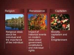 Religion Religious ideas about the individual and the