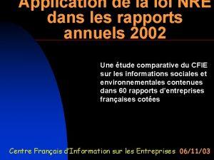 Application de la loi NRE dans les rapports