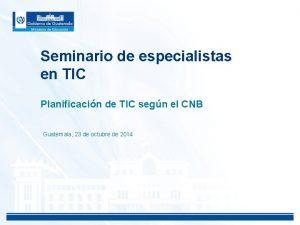 Seminario de especialistas en TIC Planificacin de TIC