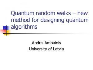 Quantum random walks new method for designing quantum