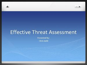 Effective Threat Assessment Presented by Chris Jaekl Can